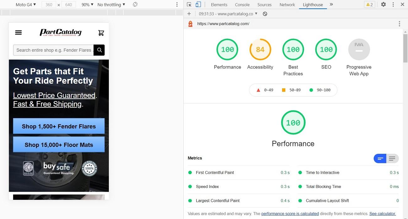"""Hyvä - Lighthouse """"after"""" results on desktop"""